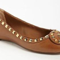 New Tory Burch Dale Studded Logo Leather Ballet Flats Shoes-Royal Tan-265-11 Photo