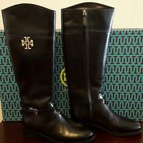 New Tory Burch 'Eloise' Leather Riding Boot Shoes Size 7 M - Black 22148454 Photo