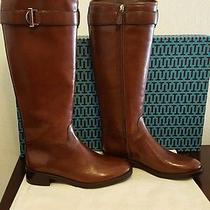 New Tory Burch 'Grace' Sienna Brown Leather Riding Knee High Boot Shoes Size 9m Photo