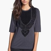 New Tory Burch Gray Estelle Floecked Tee T-Shirt Xs Carbon Mel Solomon Photo