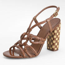 New Tory Burch Layce Woven-Heel Sandal Size 9 Almond Brown Leather/patent Shoes Photo