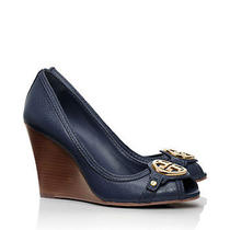 New Tory Burch Leticia 95mm Wedge - Tumbled Leather - Newport Navy - 6.5 Photo