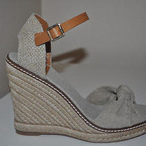 New Tory Burch Macy Leather Wedge Espadrille Sandals Shoe Sz 9.5 Gold Wash Beige Photo
