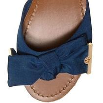 New Tory Burch Penny Slide Newport Navy Blue Wedge Cork Sandal Sz 8.5 Bow Photo