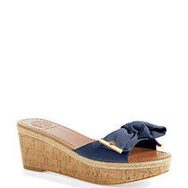 New Tory Burch Penny Slide Wedge Sandals Shoes Bow Logo Newport Navy Blue Sz 8.5 Photo