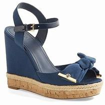New Tory Burch Penny Wedge Sandal Newport Navy Blue Bow Gold Logo 9.5 Photo