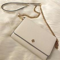 New Tory Burch Robinson Leather Crossbody Chain Wallet Purse Clutch in White Photo