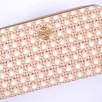 New Tory Burch Robinson Rattan Print Zip Around Continental Wallet Photo