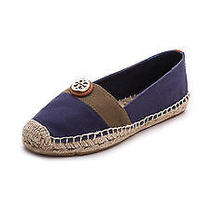 New Tory Burch S 8.5 Beacher Flat Espadrille Canvas Shoes Newport Navy Olive Tan Photo