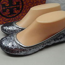 New Tory Burch Shoes Sz 5 Eddie Glitter Pewter (Silver) Prom Wedding Dance 198 Photo