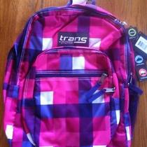 New Trans Jansport Tm60 Girls Pink Purple Plaid Backpack Student School Bag   Photo