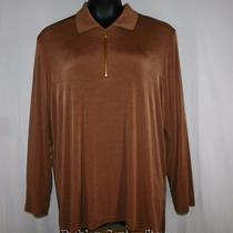 New Travel Elements Womens 2x Tunic Top Caramel Brown Acetate Stretch Half Zip Photo