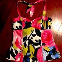 New Trina Turk Size 8 Cotton Spandex Multi-Color Floral Tie Halter Top Blouse Photo