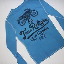 New True Religion Brand Jeans 108 Men Moto Script Waffle Thermal Shirt  Large L Photo