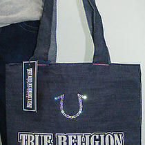 New True Religion Brand Jeans Womens Denim Crystal Tote Bag / Book Bag  Sale Photo