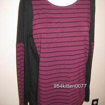 New Two Vince Camuto Wine Striped Color Block L/s Top Small Photo