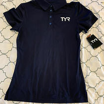 New Tyr Women's Alliance Coaches Navy Polo Short Sleeve Shirt Size L Large Nwt Photo
