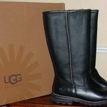 New Ugg 11 Australia Tall Black Leather Brooks Boots 100% Authentic Boots Photo
