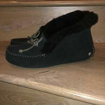 New Ugg Alena Black Suede Sheepskin Cuff Moccasins Slippers S Us 9 Womens New Photo