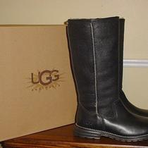 New Ugg Australia Black Leather Tall Brooks Boots 8 100% Authentic Boots Photo