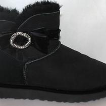 New Ugg Australia Black Suede Karlie Bow Brooch Swarovski Bling Boots Sz 9 Eu40 Photo