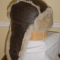 New Ugg Australia Chocolate Bomber Aviator Bailey Hat Shearling Brown Leather Photo