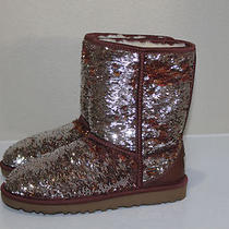 New Ugg Australia Classic Short Brown Silver Sparkles Boot Shoes Sz 1 Us / 41 Eu Photo