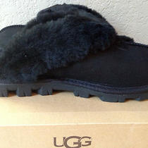 New Ugg Australia Coquette Sheepskin & Fleece Slippers Black - Size 7 Photo
