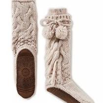 New Ugg Australia Cozy Slipper Cable Knit Yarn Cream Heather Socks Xs/s 84.50 Photo