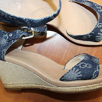 New Ugg Australia Denim Logo Signature Ankle Strap Wedge Sandals Shoes 11 42 M Photo