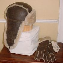 New Ugg Australia Set Chocolate Bomber Long Turn Cuff Gloves Aviator Bailey Hat Photo