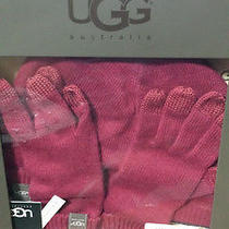 New Ugg Australia Smart Glove & Hat Set Red M O/s 12099 Authentic Free Ship Photo