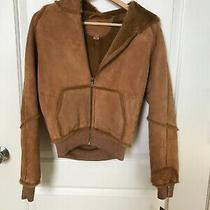 New Ugg Australia Womans Chestnut Hooded Leather Coat Size Small Photo