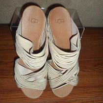 New Ugg Australia Women Beige Leather Strappy Slide Sandals Size 10 1012184 Photo