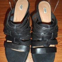 New Ugg Australia Women Black Leather Strappy Slide Sandals Size 10 W 1007112 Photo