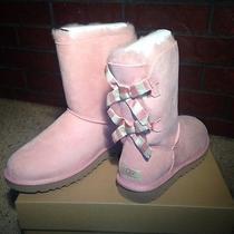 New Ugg Bailey Bow Stripe Blush Pink Classic Suede Boots Womens Sz 9 Nib Photo
