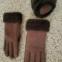 New Ugg Brown Australia Shearling / Suede Leather Earmuffs & Gloves   Photo