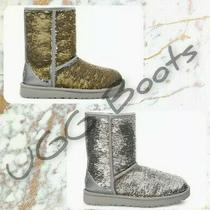 New Ugg Classic Short Silver Cosmo Sequins Silver/gold Boots Women's Size 6 Photo