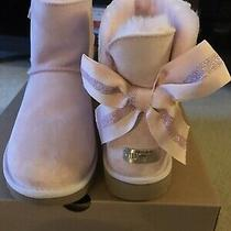 New Ugg Customizable Bailey Bow Mini Boots Seashell Pink Womens 8 Photo