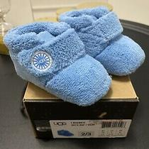 New Ugg I Bixbee 2/3 Size Small Blue Shoes Soft Crib Booties Photo