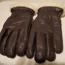 New Ugg Leather Gloves Shearling Cuff Brown Multi Men's Size M / Medium Photo