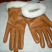 New Ugg Leather Smart Gloves Chestnut Size Small Shearling Cuff Nwt Cashmere Photo