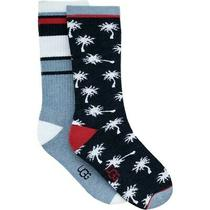 New Ugg Mens 2-Pair Crew Socks 10-13 Palm Trees Stripe Blue Red Fits Shoe 8-12.5 Photo
