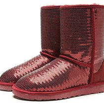 New Ugg Shimmer Sparkle Short Boots Red Wine Size Womens Ladies 4  172.95 Photo