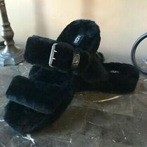 New Ugg Women's Black Fur Fuzz Yeah Shearling Sandals Slippers 1104662 Size 10 Photo