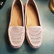 New Ugg Women's Size 8 Pink Suede Loafers Flats Clair Laser Cut Photo