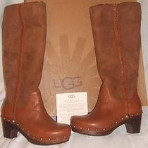 New Ugg Womens 5 Gorgeous Jemma Brown Suede Leather Sheepskin Tall Boots Nib Photo
