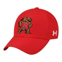 New Under Armour Structured Adjustable Hat - Maryland Terrapins- Red Terrapin Photo