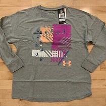 New Under Armour Youth Girls Size Xl (16) Gray Pink Long Sleeve Shirt Top Loose Photo
