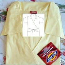 New Uniform Nurse Dickies 11101 Johnny Scrubs Top Lemon Medium Free Ship Photo